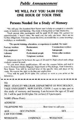 Esperimento Milgram avviso