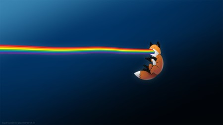 Volpe con arcobaleno