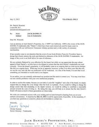 Jack Daniel's lettera di diffida